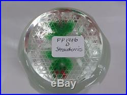 Perthshire Paperweight 1986D Lampwork Strawberries & Flowers on Clear Base EC