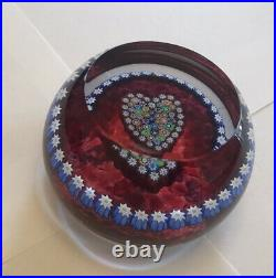 Perthshire Paperweight Complex Heart Millefiori Canes On Wine Field