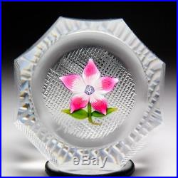 Perthshire Paperweights 1973 pink flower miniature faceted paperweight