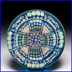 Perthshire Paperweights 1978 patterned millefiori cross faceted paperweight