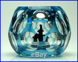 Perthshire Penguin Bubble Paperweight blue flash overlay