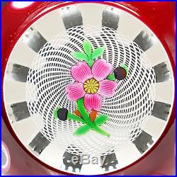 Perthshire Studio Art Glass 1984G Double Overlay Flower Latticino Paperweight