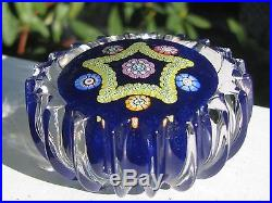 Perthshire Studio Art Glass PAPERWEIGHT Cobalt, Star Design, Ribbed Edges, 2.5