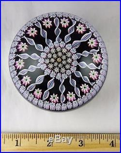 Perthshire Studio Art Glass Paperweight Navy Blue & Pink Millefiori