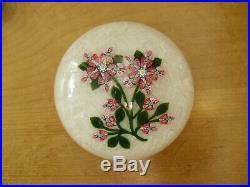 Peter McDougall Millefiori/Lampwork Flower on Upset Muslin Paperweight 2 7/8