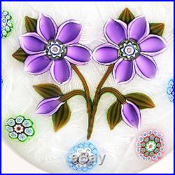 Peter McDougall Two Lavender Flowers and Millefiori Canes on Lace