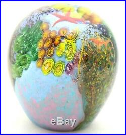 Phenomenal PETER RAOS Vibrant Pacific FISH & CORAL REEF Art Glass PAPERWEIGHT