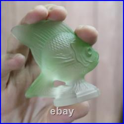 R. Lalique Signed Green Fish Paperweight Poisson Correct Early Signature