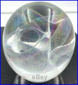 R. W. Stephan 1991 Hand Blown 3 VORTEX Iridescent Studio Art Glass Paperweight