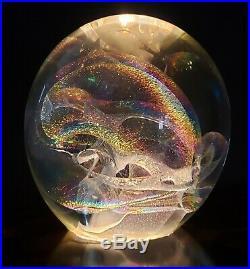 R. W. Stephan 1992 Hand Blown 3.5 VORTEX Iridescent Studio Art Glass Paperweight