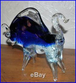 RARE 10 MURANO GLASS ART GLASS BULL OX PAPERWEIGHT FIGURINE ITALY VINTAGE 1950s