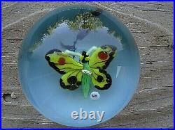 RARE 1960's LEWIS KAIN Lampwork BUTTERFLY Studio Art Glass PAPERWEIGHT LK Cane