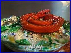 RARE 1970 Baccarat Crystal Snake on Silver Rocks & Leaves Paperweight #10 LIM ED