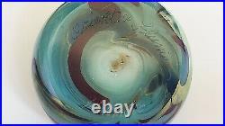 RARE 1974 ORIENT & FLUME Art Glass Paperweight Iridescent Aqua, Red and Yellow