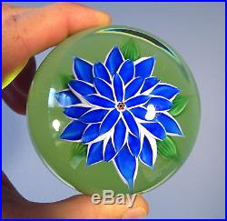 RARE BACCARAT French Art Glass Blue DAHLIA Green Ground Paperweight 1972 w BOX