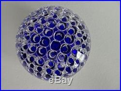 RARE BLUE 19th Century Antique Boston & Sandwich Art Glass AIR TRAP Paperweight