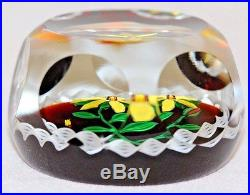 RARE & Beautiful NONTAS KONTES Yellow FLOWER Art Glass MULTIFACETED Paperweight