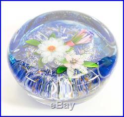 RARE DELMO TARSITANO Flower Art Glass Paperweight Signed