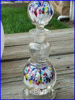 Rare Engraved Millville Umbrella Paperweight Inkwell