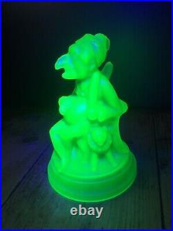 RARE FROSTED GREEN c1873 JOHN DERBYSHIRE URANIUM PUNCH & JUDY GLASS PAPERWEIGHT