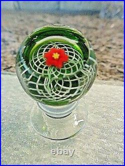 RARE Micro Miniature Charles Kaziun Jr Glass Lily Latticinio FACETED Paperweight