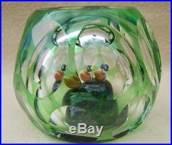 RARE! PERTHSHIRE HOLLOW 3 DUCKS GLASS PAPERWEIGHT 1983