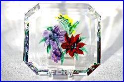 RARE Ravishing RANDALL GRUBB Colorful FLORAL PLAQUE Art Glass PAPERWEIGHT