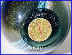 RARE/SPECTACULAR OOAK Rick Satava 89 Harvest Moon&Wisteria Glass Paperweight 5