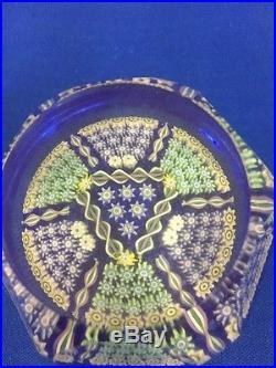RARE! Scottish Perthshire Millefiori Art Glass Paperweight Faceted
