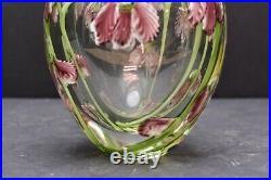 RARE and FINE Signed Lotton Multi Floral Double Wall Studio Art Glass Vase HEAVY