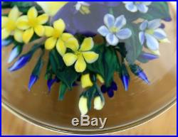 RICK AYOTTE Magnum LE/25 1999 Paperweight Pansies Flowers Art Glass 3 3/4 inch