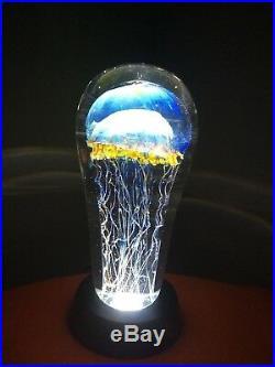 RICK SATAVA 7 MOON JELLYFISH Glass Art Statue & LIT BASE Paperweight SCULPTURE