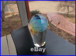 RICK SATAVA Blue Moon Jellyfishart glass 6 Tall Signed