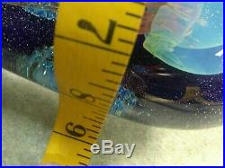 RICK SATAVA Signed Jellyfish Moon Seascape paperweight art glass