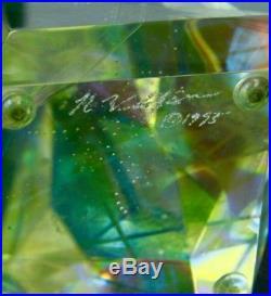 ROBERT W. STEPHEN Dichroic Laminate Art Glass Sculpture/Paperweight, Apr 8.25 H