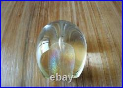 RW STEPHAN Studio Glass Iridescent DICHROIC Prismatic Paperweight Signed