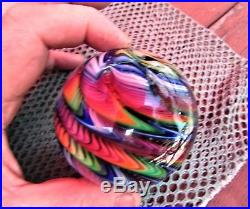 Rainbow Swirl Signed James Alloway 2012 #36, 3 inch Art Glass Paperweight