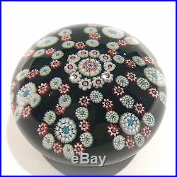 Rare Antique Baccarat Art Glass Paperweight Millefiori Garland on Green Ground