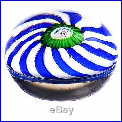 Rare Antique CLICHY Miniature Blue and White SWIRL withGreen/White Center Cane