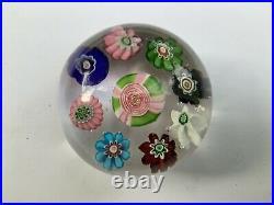Rare Antique Clichy With Center Rose Millefiori Miniature Glass Paperweight