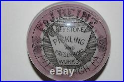 Rare Antique F. & J. HEINZ Pickling Pittsburgh adv PAPERWEIGHT pat'd 1882