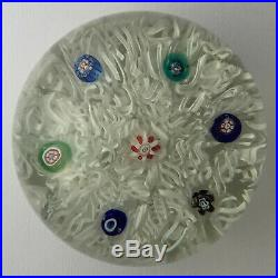 Rare Antique French Or Bohemian Millefiori On Lace Glass Magnum Paperweight