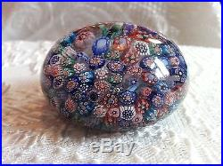 Rare Antique French St. Mande Complex Closepack Millefiori Paperweight