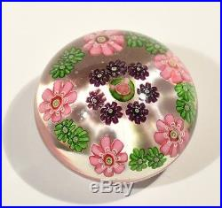 Rare Antique Glass Paperweight Colourful Floral Canes