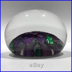 Rare Antique Saint Louis Art Glass Paperweight Lampworked Purple Dahlia