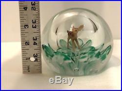 Rare Bart Zimmerman 1991 Signed Art Glass Hollow Weight Deer Bambi Paperweight