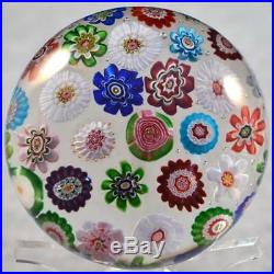 Rare Big Clichy Concentric Millefiori Paperweight 37 Canes & 3 Different Roses