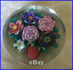 Rare Early Work, Ken Rosenfeld 1986 Art Glass Paperweight Strawberry Bouquet
