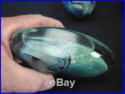 Rare Eickholt Matched Set Of 3 Dichroic Paperweights Fluorescent Uranium Glass