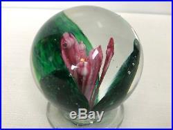 Rare Joe Zimmerman 1960 Signed Art Glass Pedestal Rose/Flower Paperweight EARY